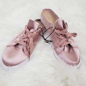 Forever 21 Silk Lace Up Mules Sneakers Pink
